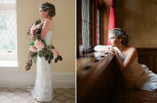 Great Gatsby inspired bride headpiece and flowers