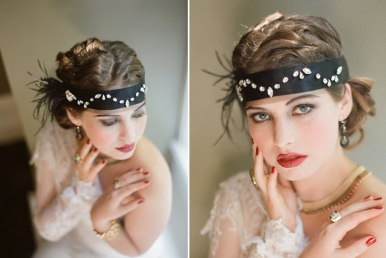 Gatsby inspired wedding headpiece black bandeau