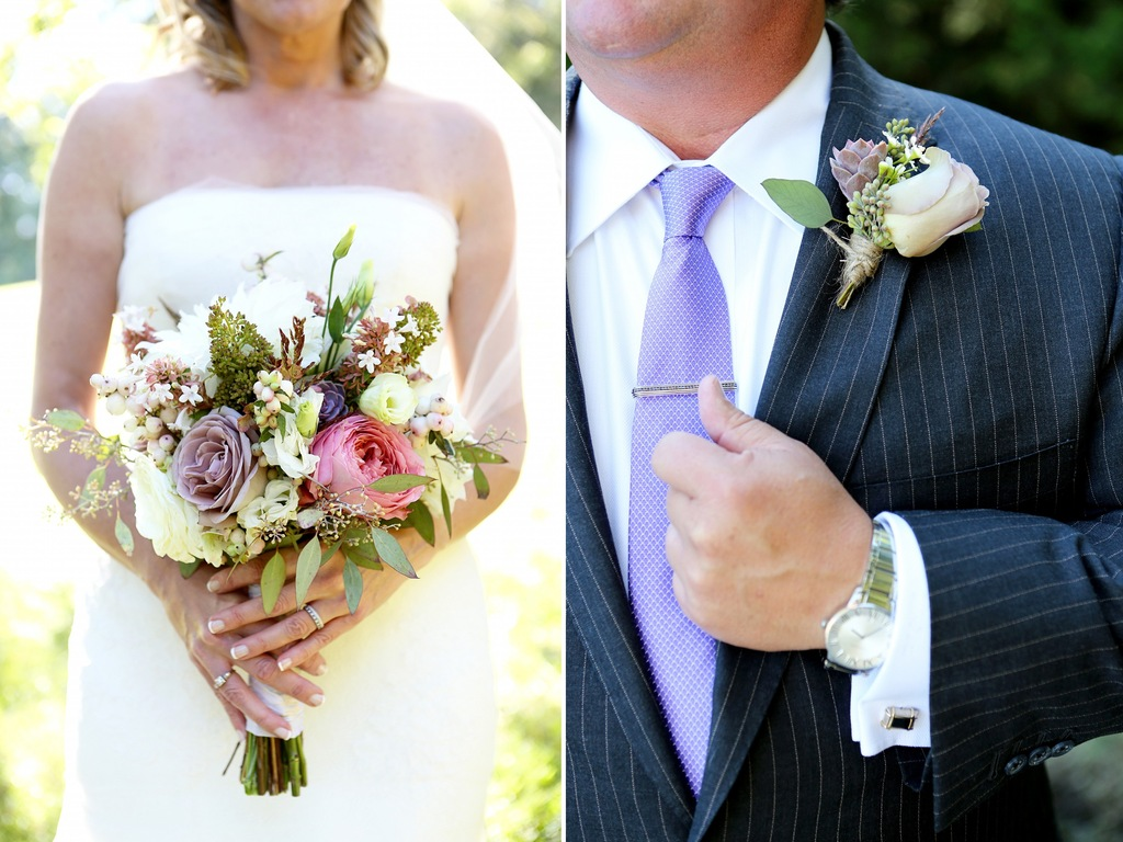 Romantic wedding bouquet with roses berries and ranunculus