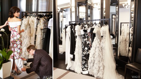 Chanel ambassador Caroline Sieber tries on gowns during dress fittings