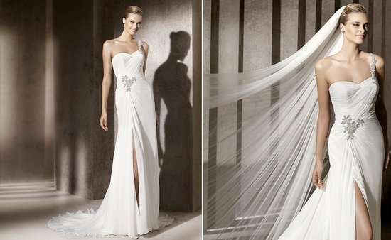 2012 wedding trends slits pronovias fashion bridal gowns