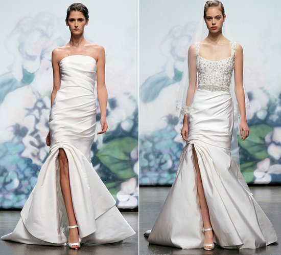 2012 wedding dress trends slits monique lhuillier bridal gowns mermaid