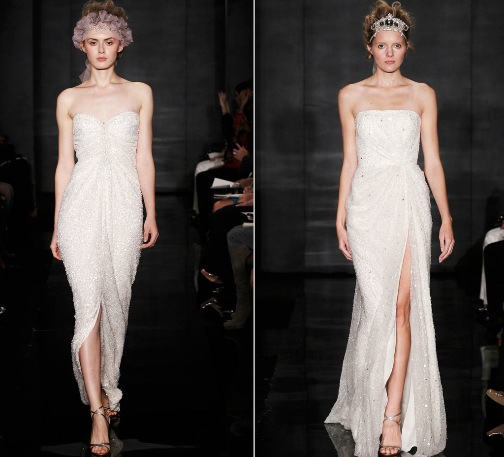2012 wedding dress trends slits reem acra bridal gowns sparkly sheath