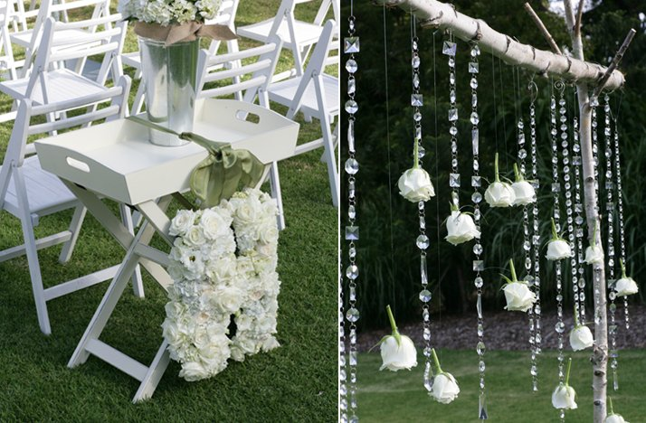au wedding white green wedding ceremony decor