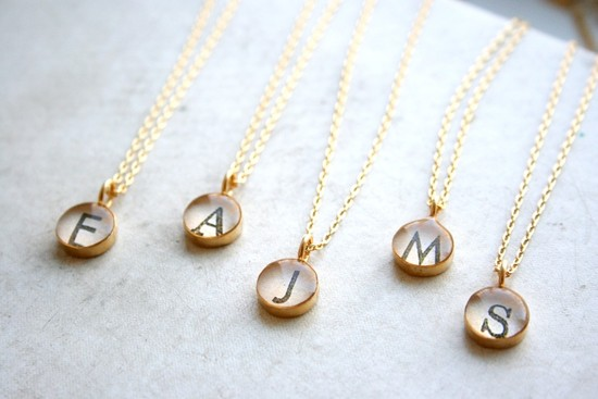 photo of Gold monogram necklace set for bridesmaids