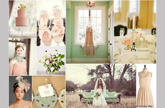 photo of vintage wedding color palettes mint peach romantic