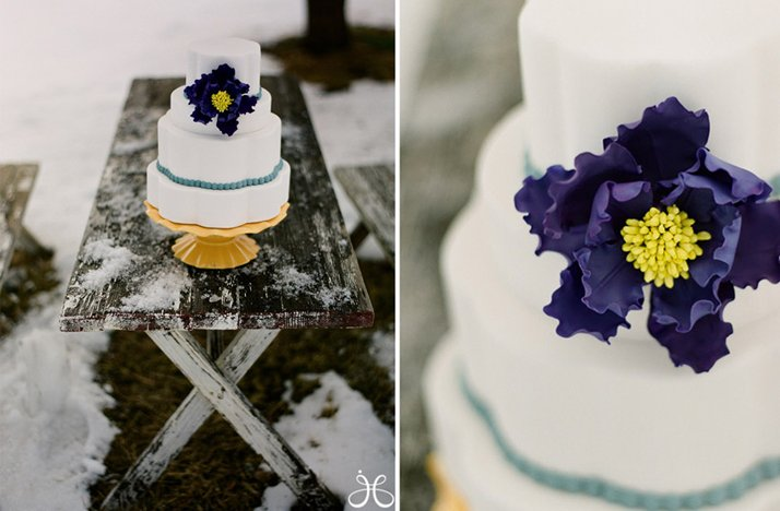 winter wedding white purple wedding cake