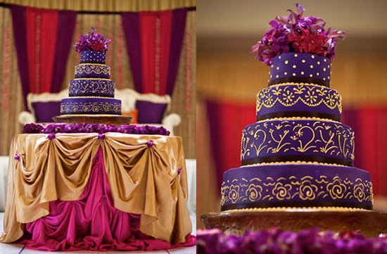 photo of Wedding Cakes with Pops of Purple