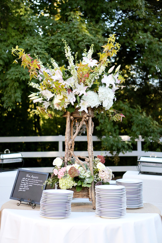Romantic outdoor wedding reception setup