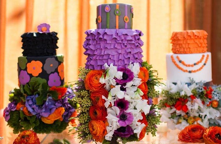 bright wedding cakes purple orange