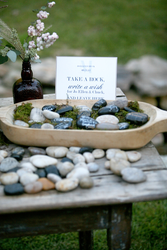 Unique wedding escort cards stones