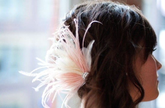 Blush and ivory feather wedding fascinator