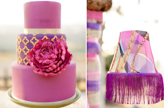 girly pink purple wedding cake