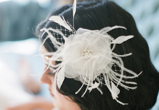 ivory wedding hair flower with feathers