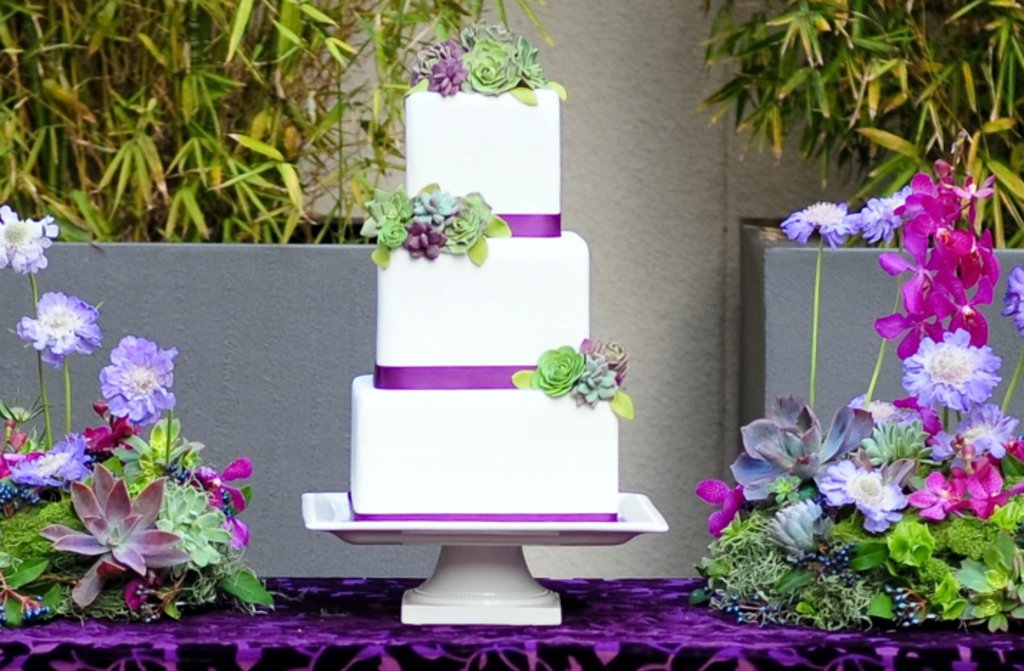 Wedding Cakes With Pops Of Purple Ideabook By Onewed On Onewed