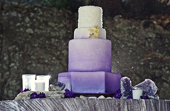 purple wedding cake ombre effect