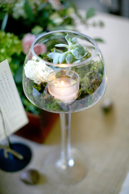unique wedding centerpiece terrarium in a wine glass