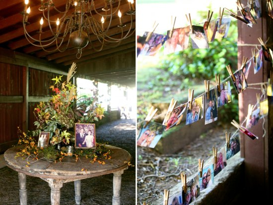 Mossy wedding centerpiece surrounded by memories