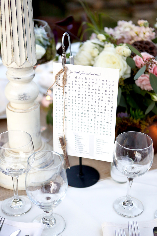 Wedding crossword puzzle at the reception