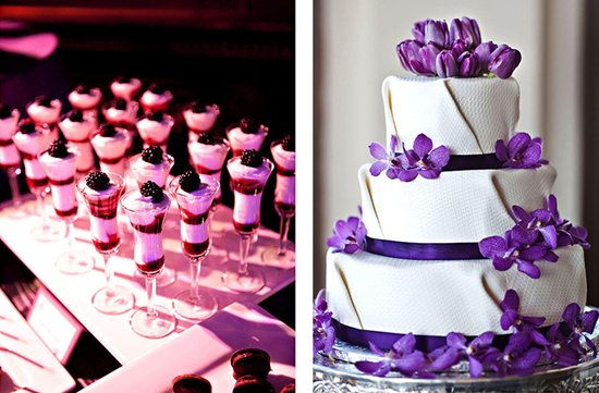 purple white wedding cakes 1