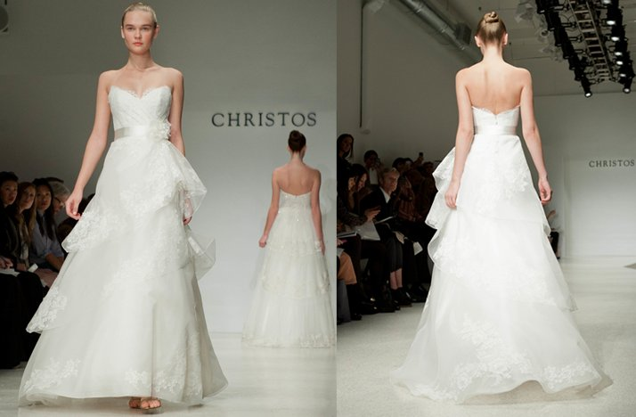 christos strapless wedding dress 2012 romantic