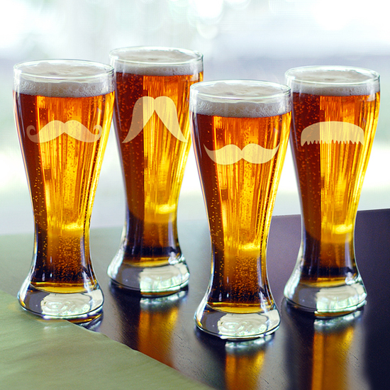 Mustache Pilsner Glasses (Set of 4)