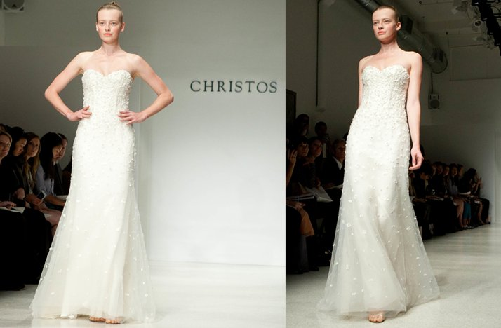 christos fall 2012 wedding dress- ivory lace column gown with strapless neckline