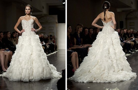 strapless lazaro wedding dress 2012 bridal gowns textured skirt