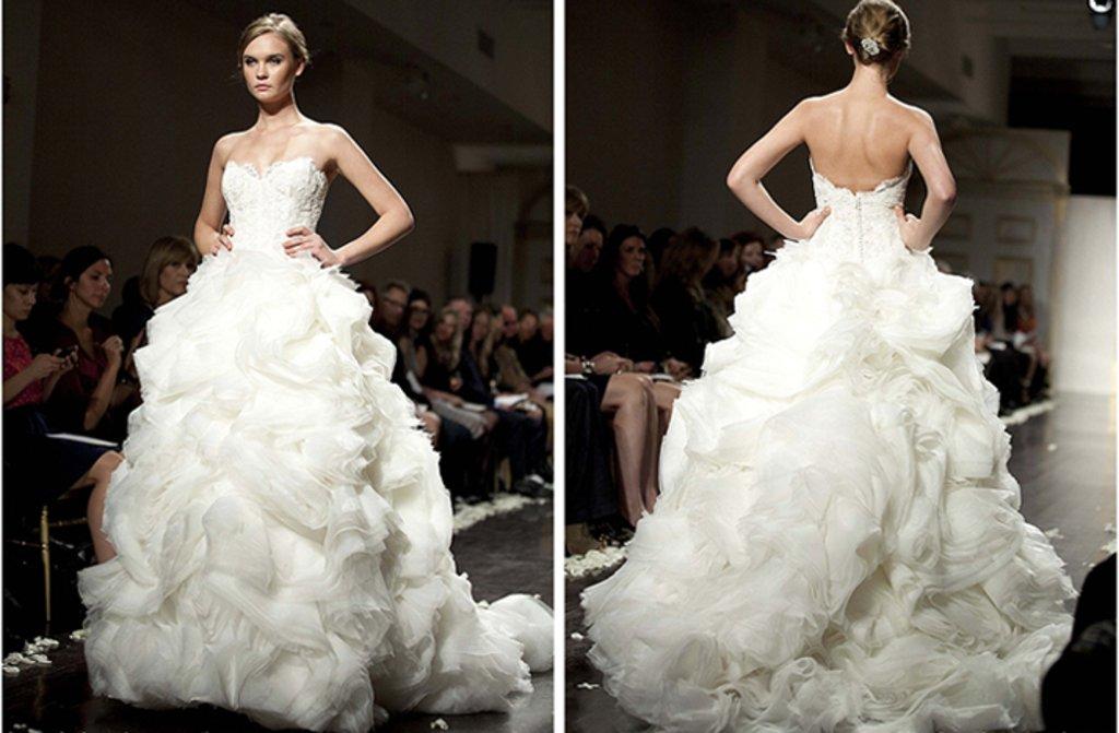 strapless lazaro wedding dress 2012 bridal gowns textured skirt