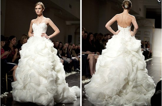 strapless frothy wedding dress ballgown lazaro 2012