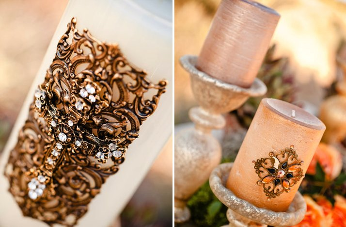 Gold-wedding-ceremony-candles-desert-chic-bridal-style.full