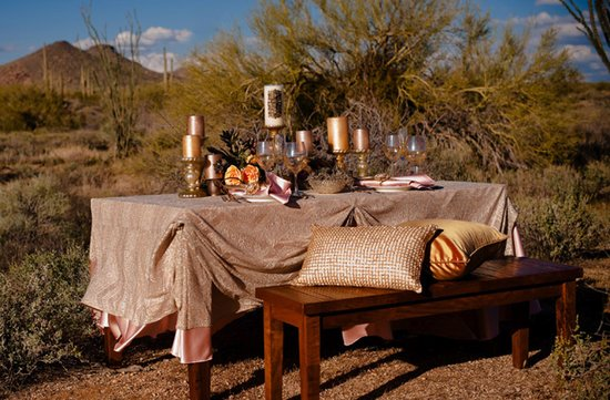 rustic chic desert wedding inspiration reception tablescape
