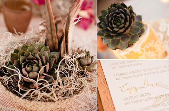 eco friendly wedding reception centerpieces succulents