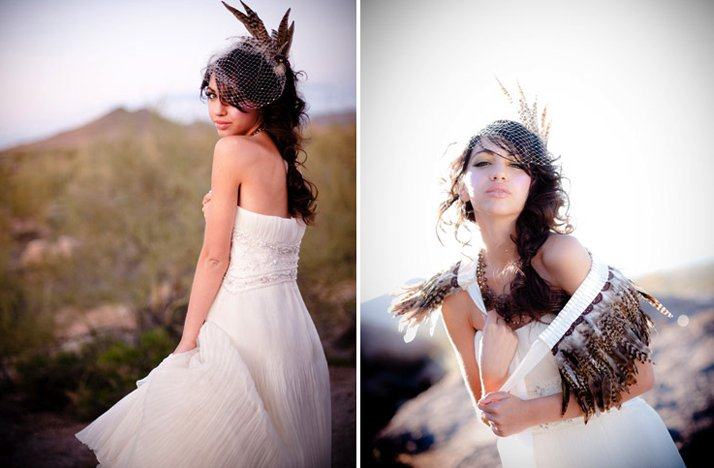 Desert-bride-wears-white-wedding-dress-haute-couture-wedding-headpiece-feathers.full