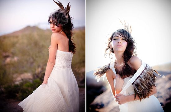 desert bride wears white wedding dress haute couture wedding headpiece feathers