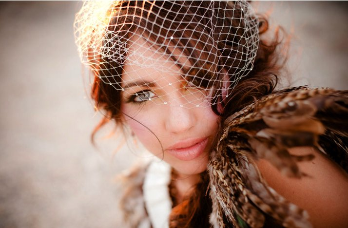 Desert-chic-bride-birdcage-bridal-veil-feather-bolero.full
