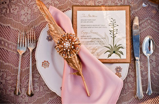 romantic wedding reception tabletop gold pink