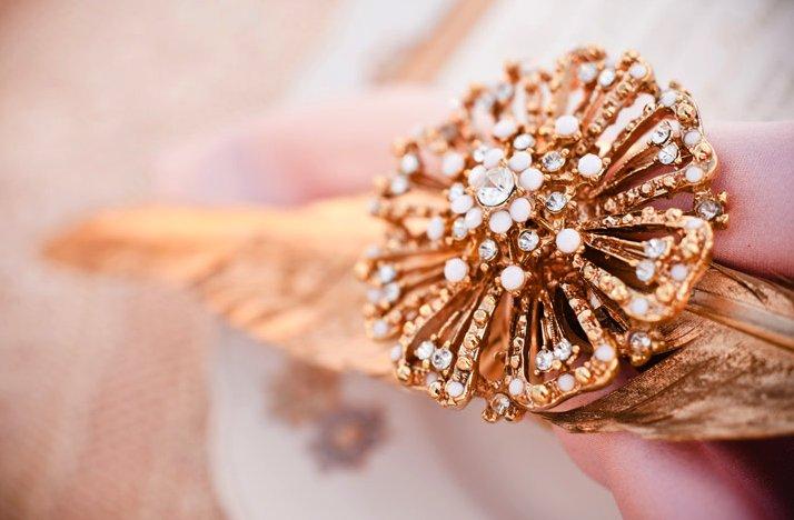 Romantic Glam Wedding Inspiration Bridal Hair Brooch