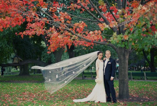 Custom lace bridal gown for outdoor fall wedding