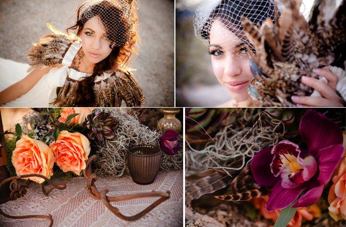 Feather-adorned-bride-pink-orange-wedding-flowers.full
