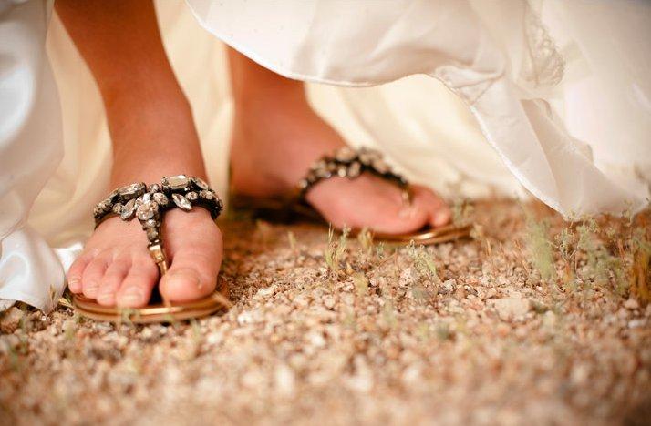 Desert-chic-wedding-bride-wears-bejeweled-sandals.full