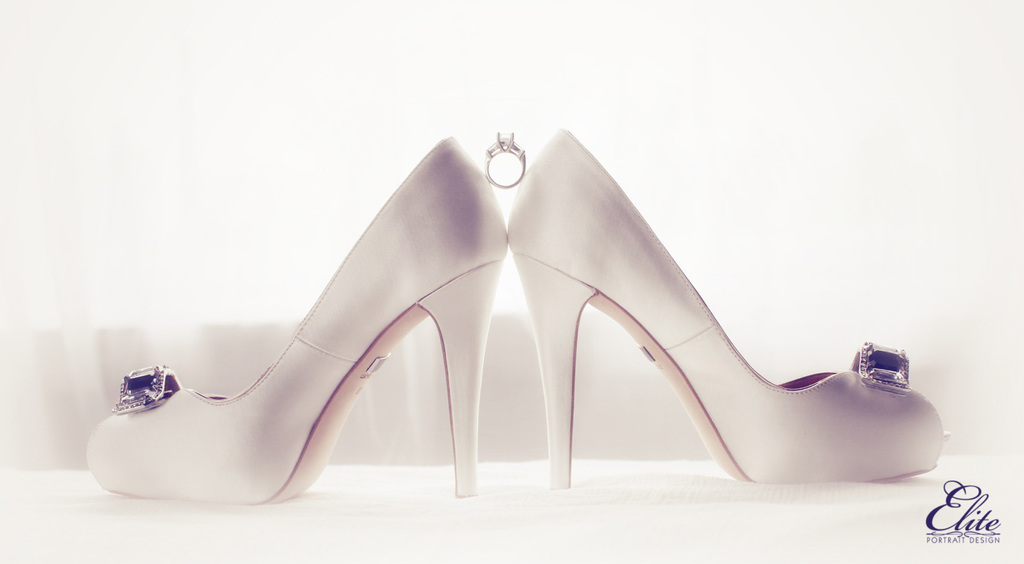 White Satin Wedding Shoes With Engagement Ring Between