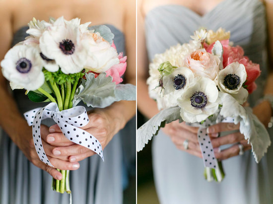 Anemone bridesmaid bouquets with lambs ear and polka dot ribbons