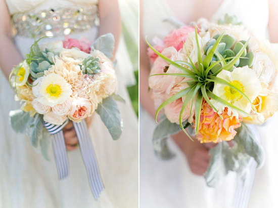 Romantic wedding bouquet with succulents and dahlias