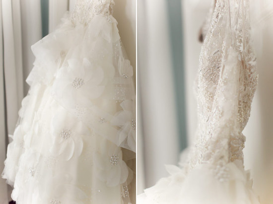 Beaded and embellished wedding dress detail shot