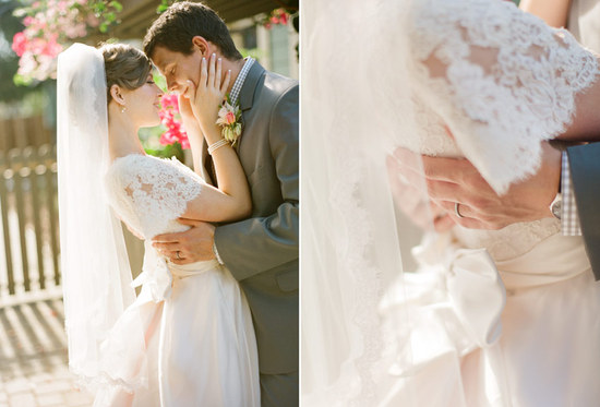 Newlyweds embrace in this romantic wedding photo