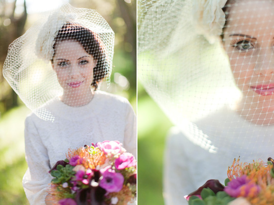 Vintage glam wedding veil and tea length dress