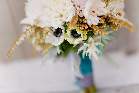 Whimsical wedding bouquet featuring anemones and dahlias