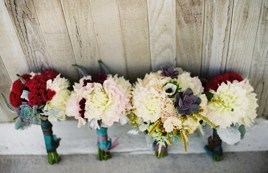 Unique wedding bouquets with dahlias celosia succulents and anemones
