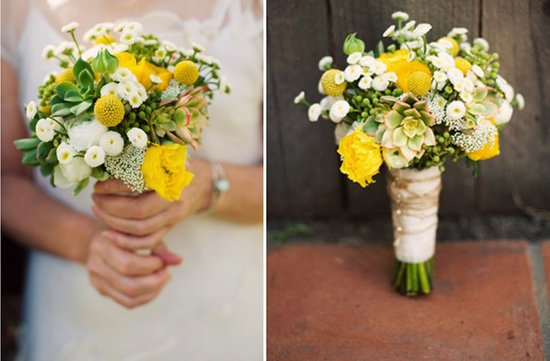 white yellow green bridal bouquet spring summer wedding succulents